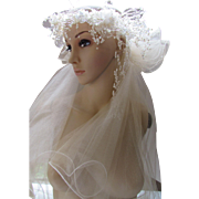 1980 Style Wedding Veil with Faux Pearl and Clear Beading