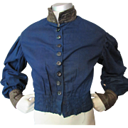 Authentic Victorian Era Top Waist in Navy Blue with Chestnut Brown Accents Adolescent Size