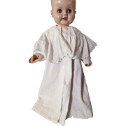 Victorian Edwardian Child's White Cord Coat with Lace Collar for Infant of Large Doll