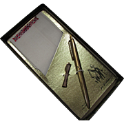 Novelty Set for Gentleman Handkerchief Gold Tone Ink Pen and Tie Clip
