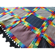 Cabin Style Patchwork Hand Made Bed Cover in Wool Suiting Blocks and Yarn Edging
