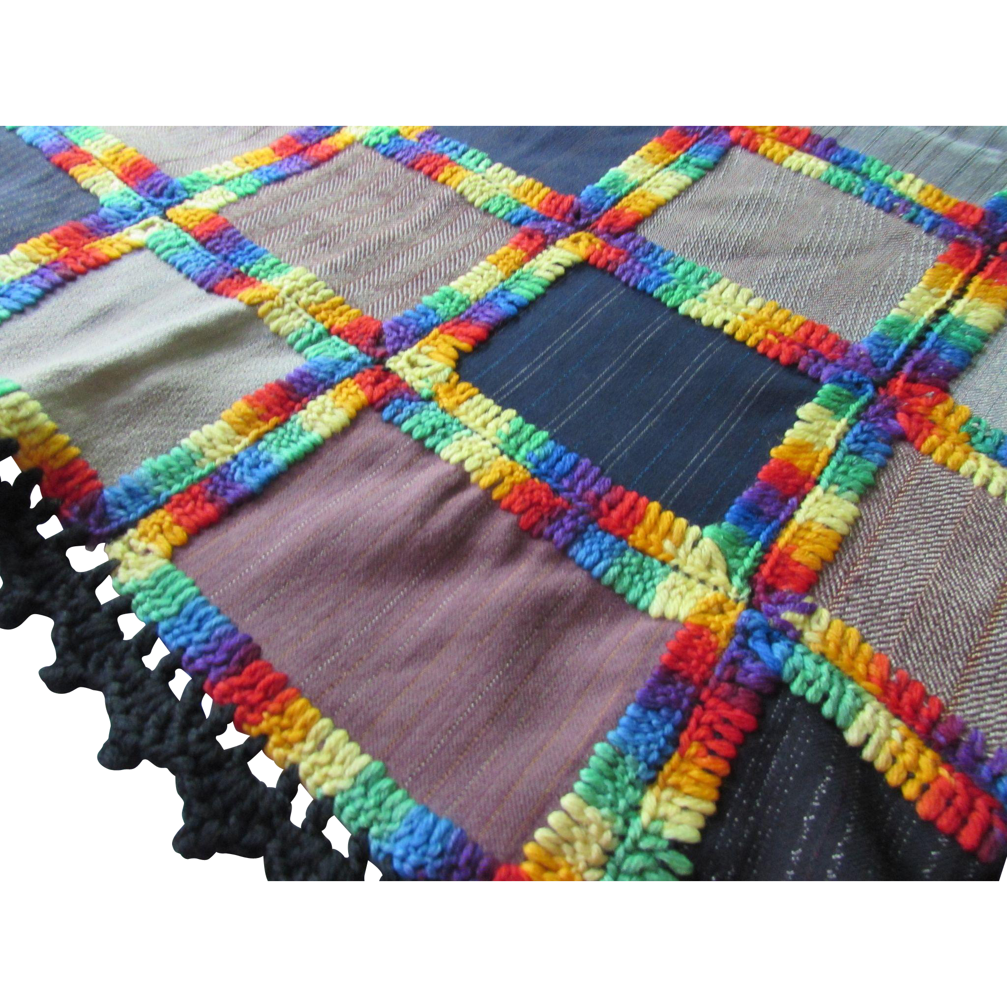 Patchwork Hand Made Bed Cover in Wool Suiting Blocks and Yarn Edging