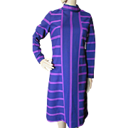Mid-Century Mod Style Vibrant Sheath in Striped Grape and Plum by Sacony