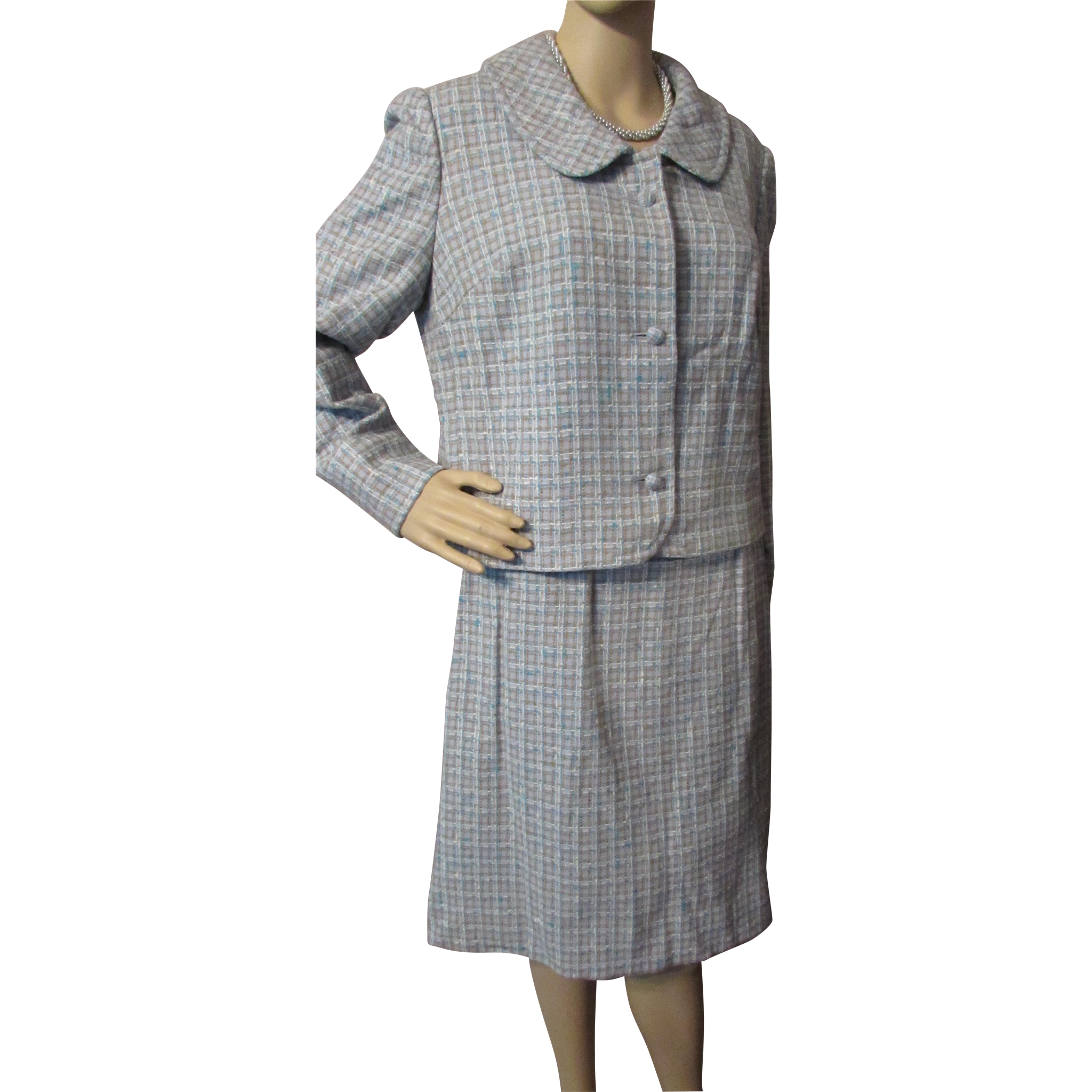 Classic Pendleton Suit Skirt and Jacket in Blue and Brown Plaid Tweed