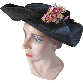 Surprising Tri Corn Style Hat for Ladies in Black Straw with Flower Sprig Decoration