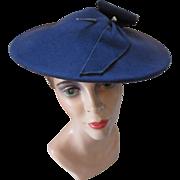 1940 Style Felt Pancake Hat in Slate Blue Roshek Brothers Dubuque Iowa