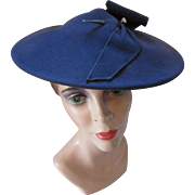 1940 Style Felt Pancake Hat in Slate Blue Roshek Brothers Dubuque Iowa