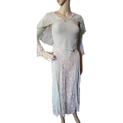 1930 Wedding Dress in Mint Pleated Crepe and Gorgeous Lace for Salvage or Pattern