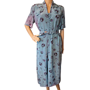 1940 Style Rayon Dress in Turquoise for Salvage