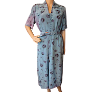 RESERVED   1940 Style Rayon Dress in Turquoise for Salvage