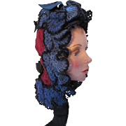 Victorian Era Hand Crochet Ladies Winter Hood in Cobalt Blue and Cranberry
