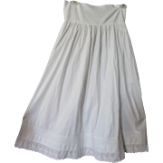 Victorian Edwardian White Cotton Petticoat with Embroidered Flounce