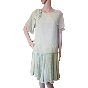 1930 Style Garden Party Dress in Mint Green Chiffon and Lace with Cape Collar