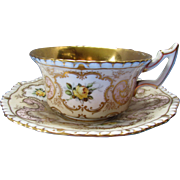 Coalport Cup and Saucer England Gilded with Floral Cartouche Design 1920 Mark