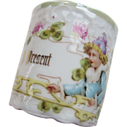 Porcelain A Present Cup Made in Germany Little Boy in the Clover and Pink Carnations
