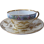 Dresden Germany Cup and Saucer Painted Courting Scene with Gold Gilding Richard Wehsner Mark