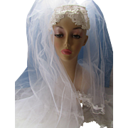 Wedding Veil in White Applique Crown and Double Veil 1970 1980