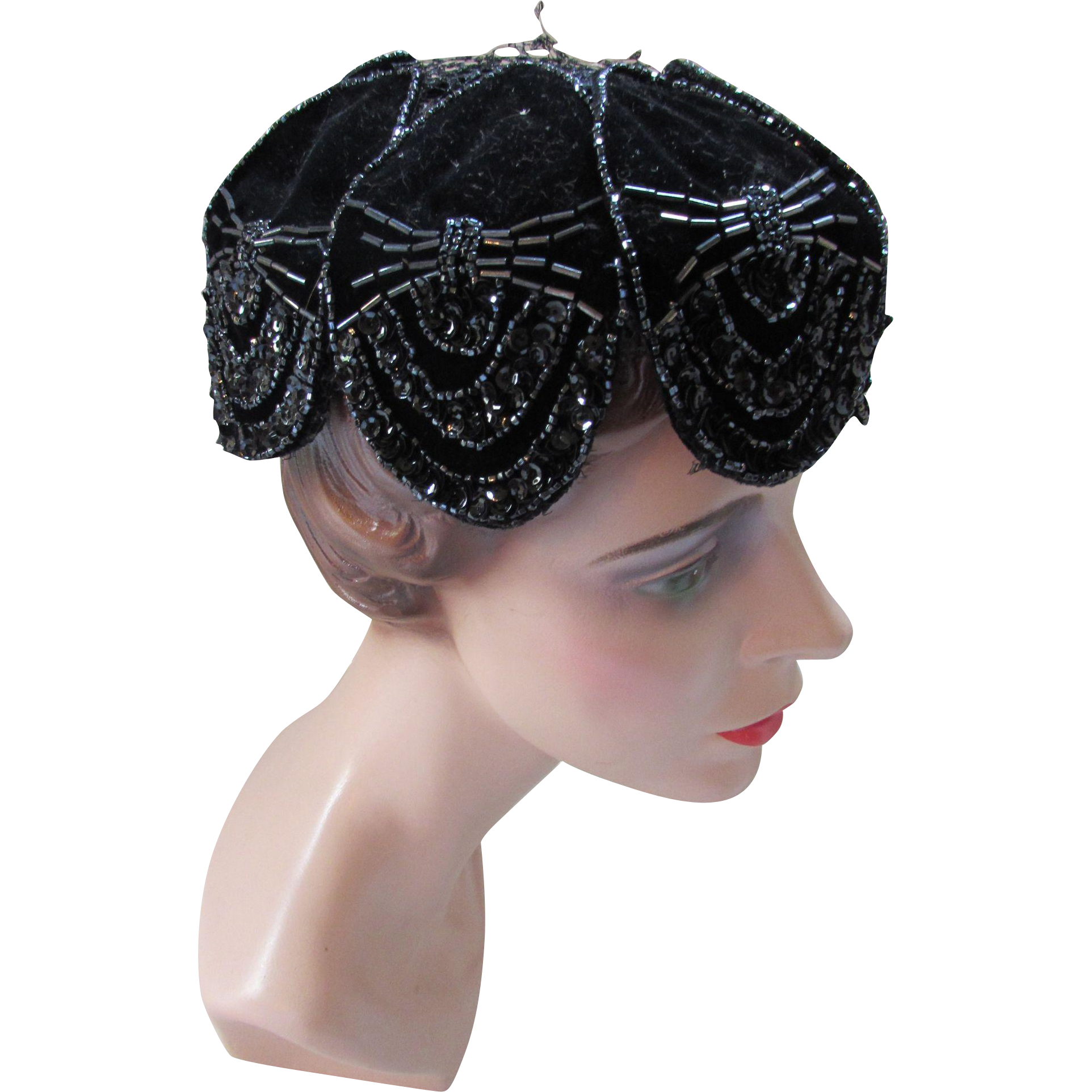 Black Velvet, Bead and Sequin Cocktail Hat by Desi Original Deco Style