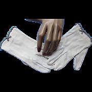 Ladies White Gloves with Rhinestone Edging Wrist Length