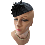 1940 Style Black Felt Half Hat with Felt Petals for Pattern or Theater