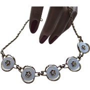 Link Choker Necklace with White Discs and Gold Tone Center Blossoms and Clear Rhinestones