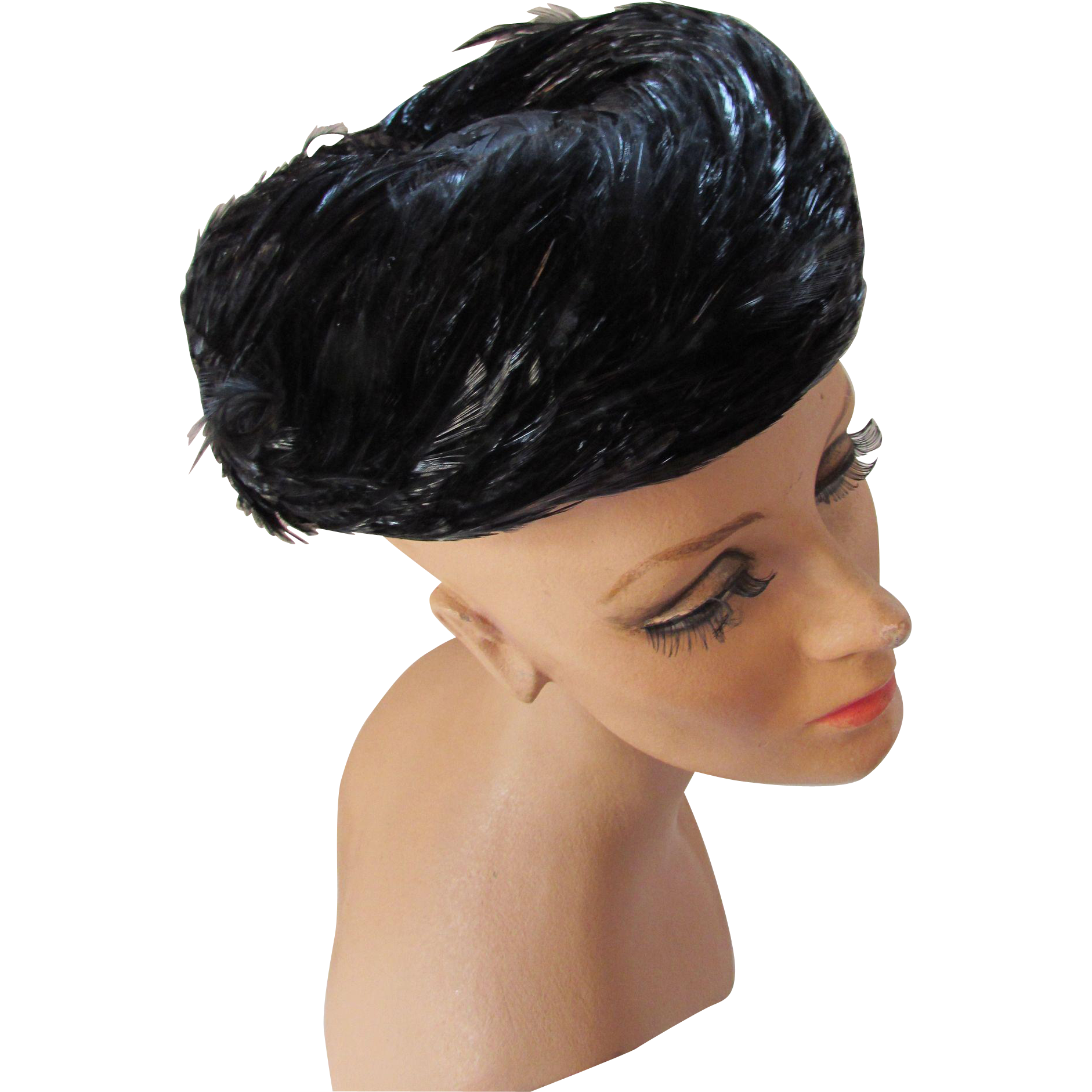 Mid-Century Hat in Black Swirled Feathers Pill Box Style Union Label
