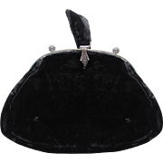 Black Velvet Evening Bag Silver Tone Frame  Finger Tab