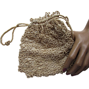 Tatted Drawstring Reticule or Necessary Bag in Cream Tone with Satin Lining