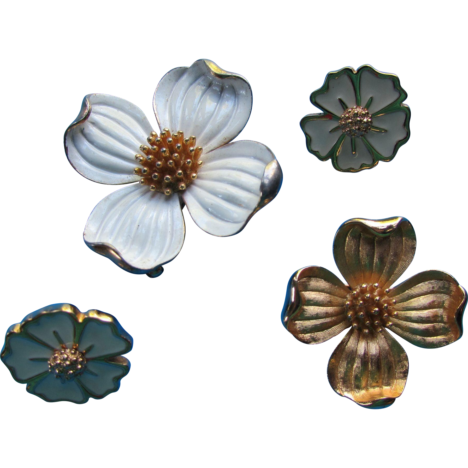 Trio Trifari Brooches and Earrings in Dogwood Design Including Enamel
