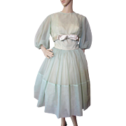 1960 Era Cocktail Party Dress in Mint Green Nylon and Satin with Jacket