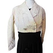 Fancy Cream Tone Brocade Bolero 1960 Style with Rhinestone Buttons