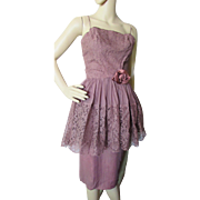 Fantastic 1960's Cocktail Dress in Lace and Satin in Chocolate Cinnamon