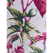 Barkcloth Fabric in Tropical Design Green and Pink Leaves Finished Drapery Piece