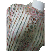 Victorian Edwardian Era Ribbon Blouse with Embroidered Medallions