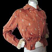 Edwardian Era Blouse in Rust Tone Silky Fabric