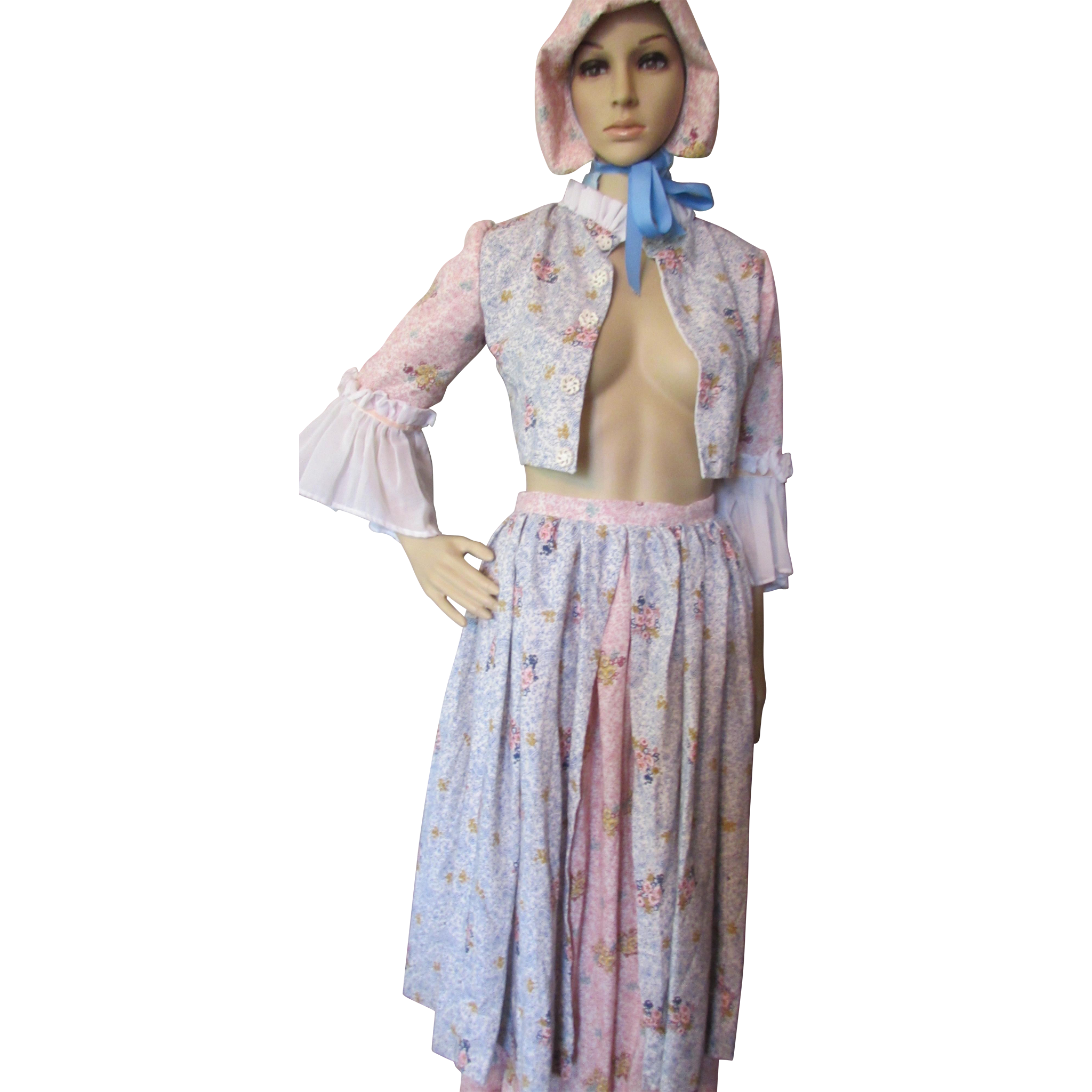 Costume of Colonial Woman or Milking Maid in Pink and Blue Cotton Print Adolescent Size