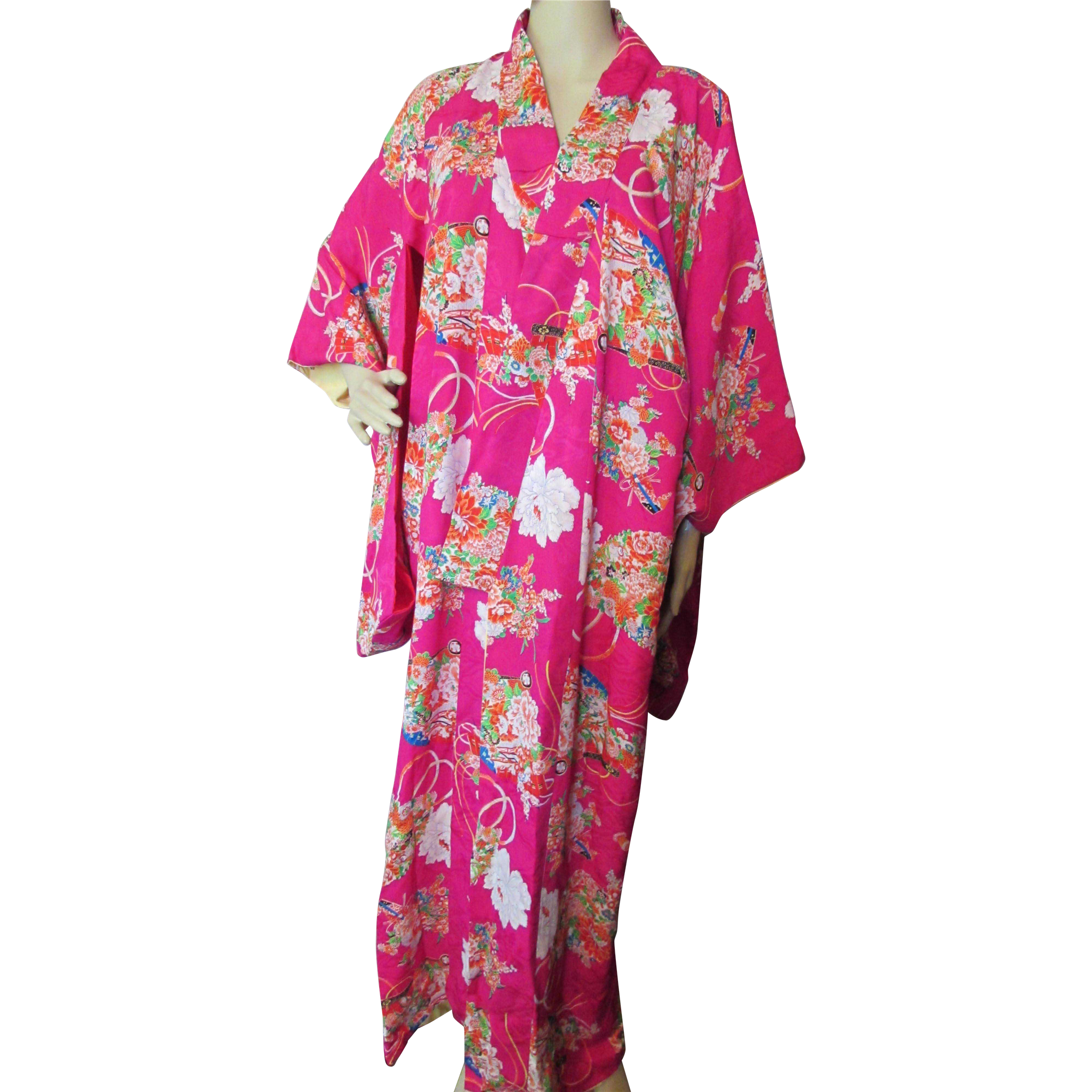Asian Influence Kimono Robe in Fuchsia Pink and Fan Design