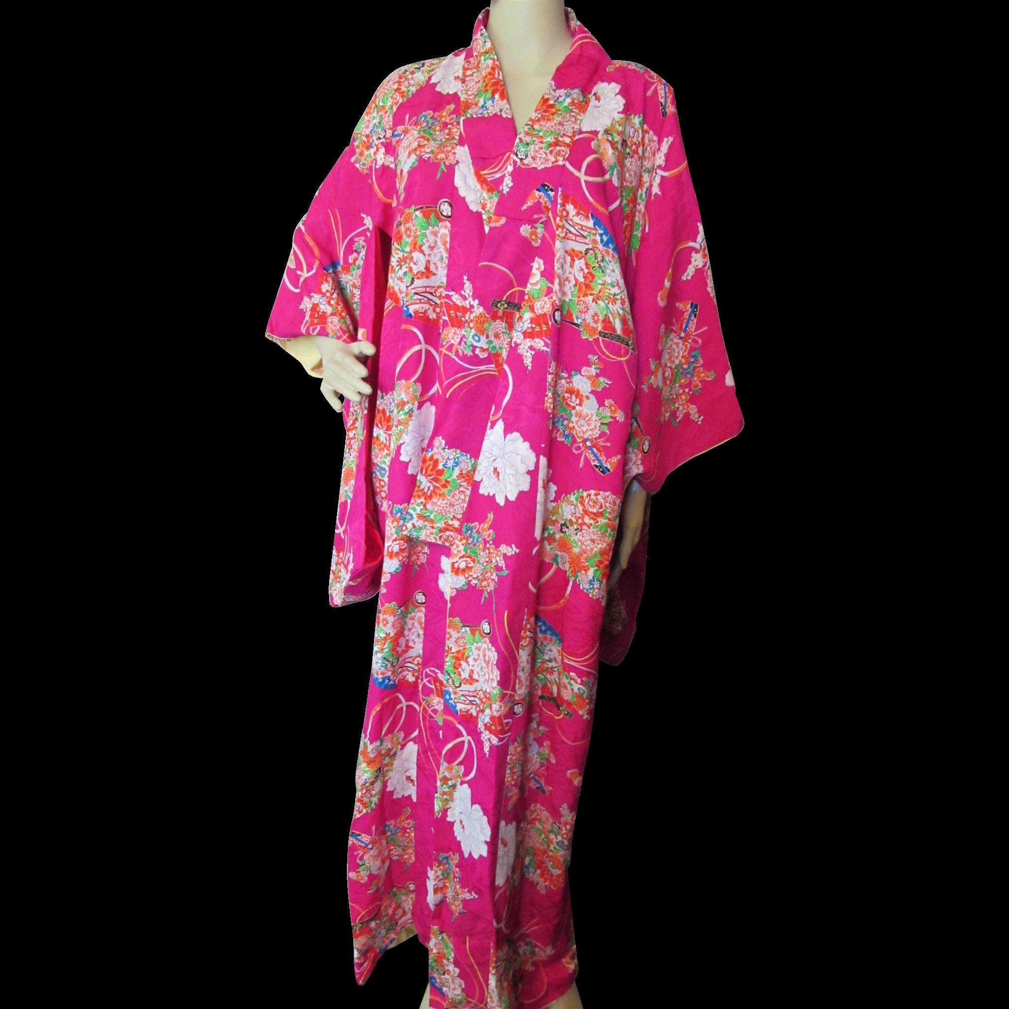 Asian Influence Kimono Robe in Fuchsia Pink and Fan Design