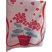 Vintage Cafe Curtains, Valance and Towel in Red Geranium Design
