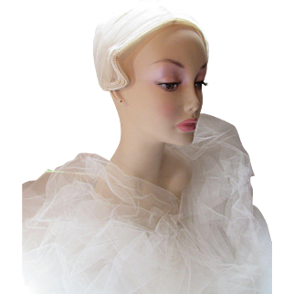 Bridal Gown Veil Cap in Cream Tone Net and Faux Pearls Miss Lillian for Vogue Bridals