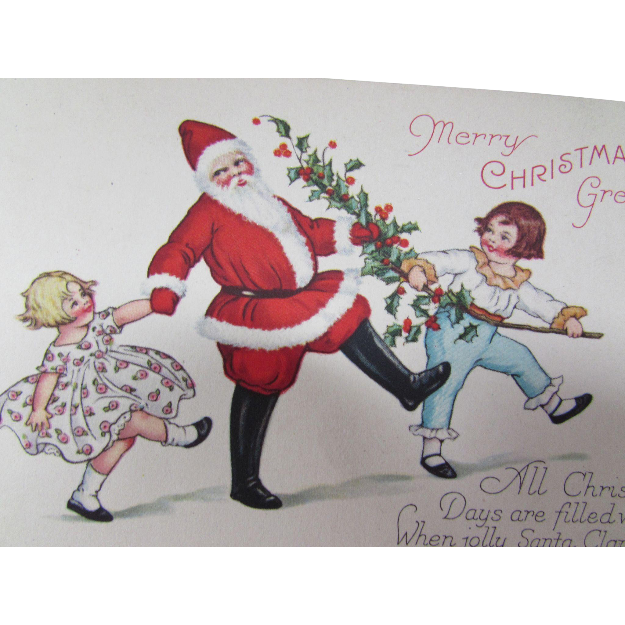 Santa Christmas Holiday Post Card 1929