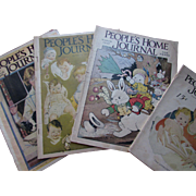 1920 Era People's Home Journal Magazines March Issues Colorful Covers and Ads