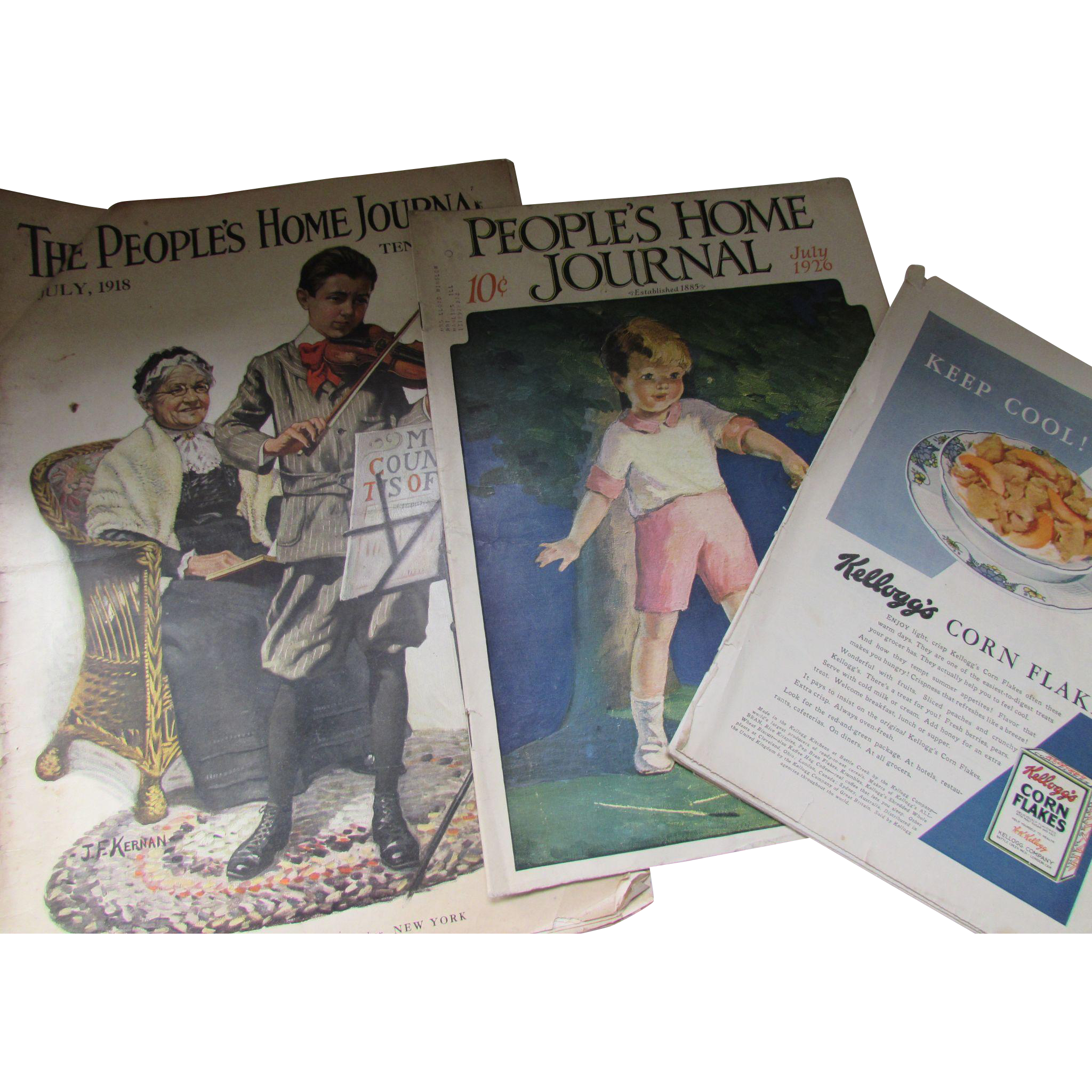 Pair July Issues People's Home Journal 1918 1926 Unusual Cream of Wheat Ad and More