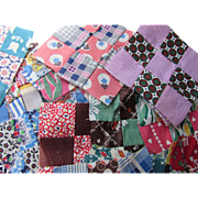 """Vintage Quilt Blocks 63 Nine Patch with 1"""" Squares Variety Prints Pre 1980 Hand Sewn"""
