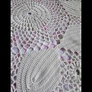 Crochet Bed Spread in White Open Design Fringed Edges