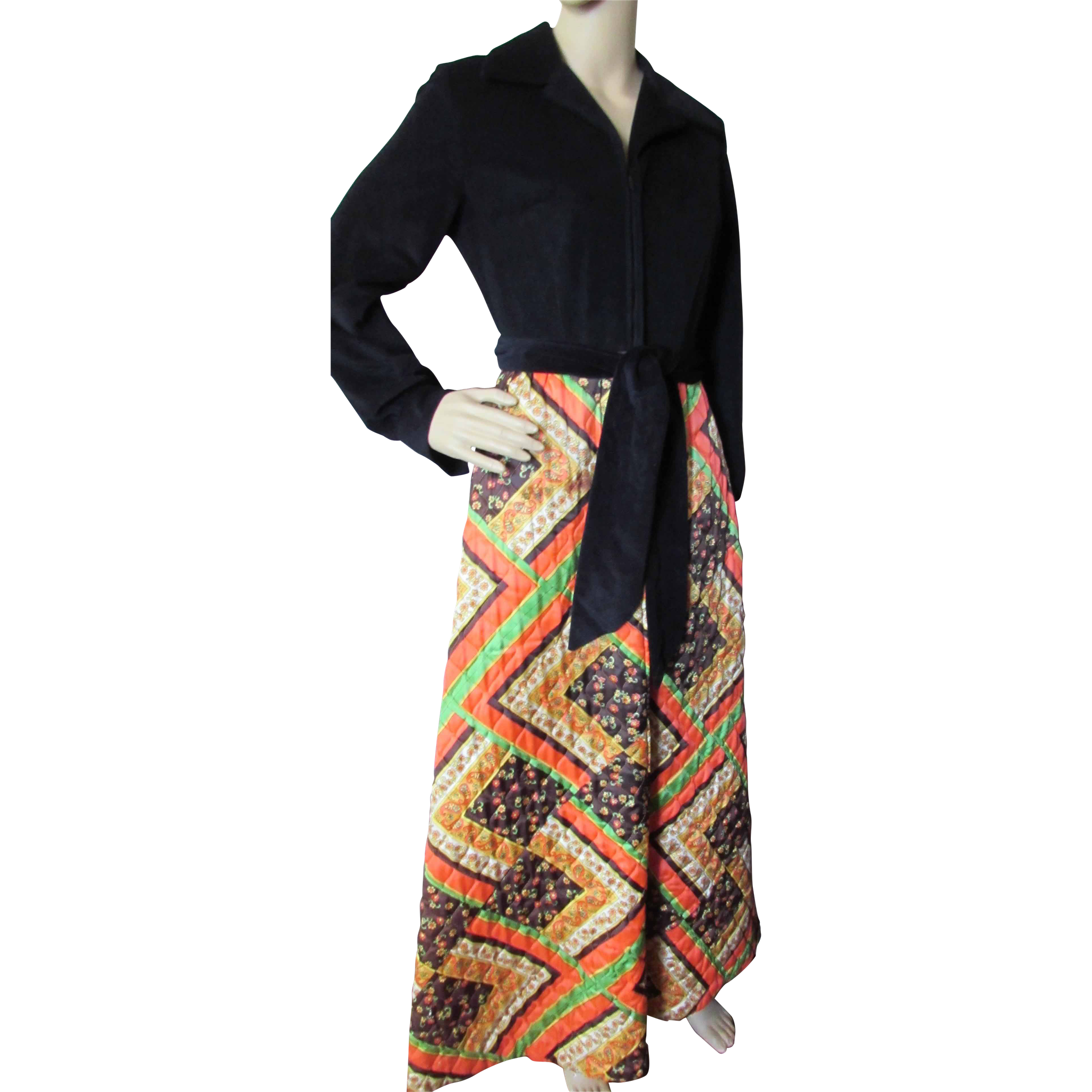 1970 Style Lounge Outfit in Black Velour and Patchwork Quilted Skirt Evelyn Pearson Lounging Apparel