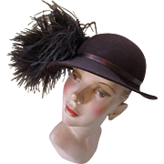 Fantastic Vintage Hat in Chocolate Felt with Fanciful Ostrich Feathers by Quaker Maid