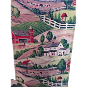 Vintage Barkcloth Curtain with Farm Theme in Bright Reds and Greens