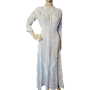 Edwardian Era Summer Day Dress in White with Embroidery and Lace