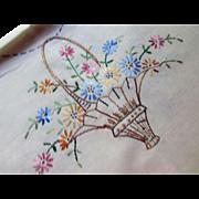 Cottage Style Vintage Embroidered Scarf or Runner in Romantic Basket Design